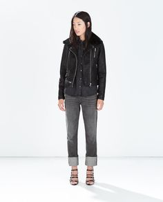 ZARA - COLLECTION SS15 - FAUX LEATHER JACKET WITH DETACHABLE FUR COLLAR
