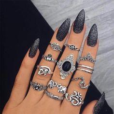 Women's Boho Vintage Ring Set – Midi Knuckle Rings Damen, Boho, Vintage-Ring-Set – Midi Knuckle Rings Black Nail Art, Black Nails, Black Glitter, Black Art, Matte Black, Acrylic Nails, Gel Nails, Nail Polish, Glitter Nails