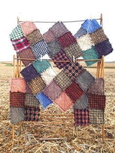 Rag Quilt Placemats - Set of Six.  Etsy.