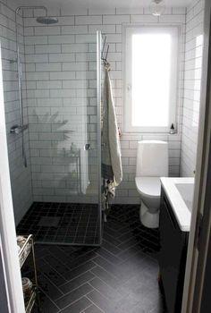 White Bathrooms With Dark Floors Dark Grey Tile Bathroom Floors Black Herringbone Floor Tiles White Bathroom With Dark Gray Floor Bathroom Design Small, Simple Bathroom, Modern Bathroom, Master Bathroom, Bathroom Ideas, Bathroom Designs, Narrow Bathroom, Budget Bathroom, Bath Design