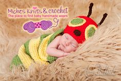 Crochet Very Hungry caterpillar    A delightfully soft cocoon based on the classic children's book 'A Very Hungry Caterpillar'    This cocoon set is great for newborn pictures.    A must have for every photographer who does newborn photo shoots.    Also a wonderfully soft sleep sack for a baby sh...