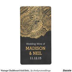 Vintage Chalkboard Gold Bohemian Wedding Wine Label