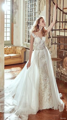 nicole spose bridal 2017 cap sleeve vneck lace sheath aline overskirt wedding dress (niab17116) mv train
