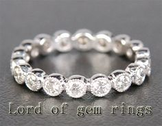 Classic Bezel Stackable .72ct Diamonds 14k White Gold Wedding Eternity Band Milgrain Ring