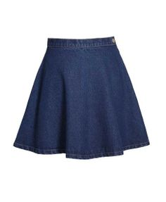 Denim Mini Skater Skirt in Vintage Blue Wash