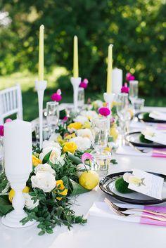 Pink and yellow. | Event Planning: Claudette Hogan | Floral Design: Fleurish Flower Shop. Photography: Kristyn Harder - kristynharderphotography.com