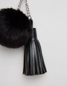 e7ba71df7a35 Large Fluff Ball Pom Bag Charm Keychain With Tassel