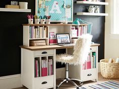 I love the PBteen Chatham Monogram Study desk design on pbteen.com - I like how it has shelves for your books/notebooks.  Makes for a great writing study!
