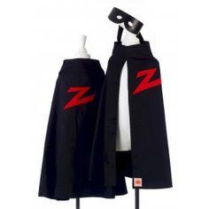 Zwart masker en cape van Zorro