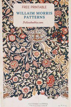 Daisy Wallpaper, Pattern Wallpaper, Wallpaper Ideas, Free Printable Art, Free Printables, Retro Pattern, Vintage Pattern Design, Vintage Designs, William Morris Patterns