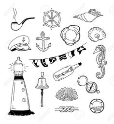 22411123-Hand-drawn-illustration-of-different-sea-and-sailor-doodles-objects--Stock-Vector.jpg (1202×1300)