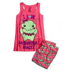 Monster Hug Capri Pajama Set ($17) ❤ liked on Polyvore featuring kids clothes
