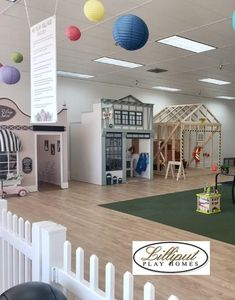 Lilliput Play Homes helped to create themed houses for My Play Village in IL. Playground Swing Set, Kids Indoor Playground, House Furniture Design, Kid Furniture, Plywood Furniture, Playroom Design, Kid Playroom, Kids Room, Indoor Playhouse