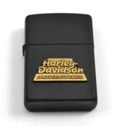 Vintage HARLEY DAVIDSON Gold & Black Matte Emblem Zippo Lighter +Box 99199-95Z