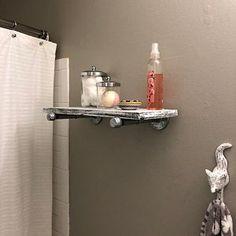 Mirror with 5 Deep Shelf Bathroom Mirror Entryway Cage Light Fixture, Mason Jar Light Fixture, Mason Jar Lighting, Entryway Mirror, Wood Framed Mirror, Wall Wood, Mirror Mirror, Wood Bathroom, Bathroom Sets