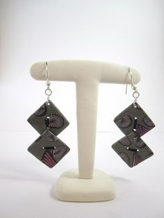 Boucle d'oreille fantaisie 2 boutons carrés : Boucles d'oreille par mix-mania ________________ Jewelry clay polymer