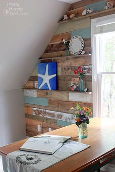 How To Install a Scrap Wood Wall :: Hometalk................. ..not the wall so much, but the shelves