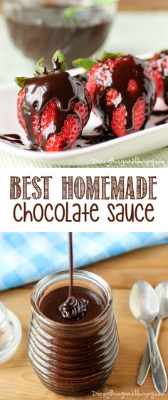 Best Homemade Chocolate Sauce - Rich, delicious, easy to make, and much better than store-bought! Chocolate Desserts, Easy Desserts, Delicious Desserts, Chocolate Syrup, Cake Chocolate, Yummy Food, Homemade Chocolate Sauce, Homemade Sauce, Dessert Sauces