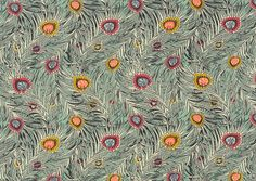 Liberty of London  duck egg green swirling peacock feather Liberty print