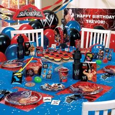 This WWE party set was very difficult to find until I came across this company. I was able to order everything for my sons 6th birthday and make it his best one yet. I love the way the bundles includes EVERYTHING from table covers to forks and spoons. I will NEVER be shopping at another party store again. This is truly the best site for parties. Thank you for making my sons birthday a memorable one. I recommend this site to every parent who is looking to make your children's birthdays wonderful