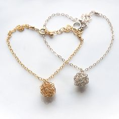 Signature Crocheted Wire Ball Charm Bracelet, Gift for her