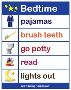 "A favorite visual list - our bedtime chart.    I'd just add ""prayers"" after read."