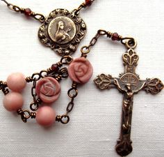 St. Therese of Lisieux Little Flower Rosary w Peruvian Opal & Garnet. $185.00, via Etsy.