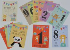 These circus inspired milestone cards are a wonderful way to record your babys first year. They are also a great gift idea for new parents and baby showers  The cards are suitable for baby boys & girls  Use these fun cards as props to take photographs with your little one. Let your imagination run wild! Afterwards they can be kept for memory boxes / books, photo albums or even sent to relatives There are 12 cards in each pack including ages and milestone events: 1 week old today 2 w...
