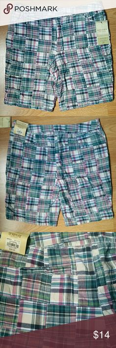 Fun Plaid Bermuda Shorts Fun and comfortable Bermuda shorts. New with tags. Many colors come together to make up this pretty plaid. Button and double hook and eye front closure. Zip fly. Two pockets in front, two slit pockets in back. 19 inches from waist to bottom of hem. 100% cotton. Sonoma Shorts Bermudas