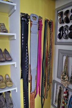 closet storage ideas. frame your accessories.