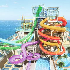 Norwegian Cruise's Getaway features a multi-story Aqua Park with five water slides.