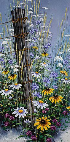 Jordan Hicks, 'Summer Colours XXXIV ', 8'' x 16'' | Galerie d'art - Au P'tit Bonheur - Art Gallery Tole Painting, Painting & Drawing, Fence Art, Arte Floral, Pictures To Paint, Painting Techniques, Painting Inspiration, Flower Art, Landscape Paintings