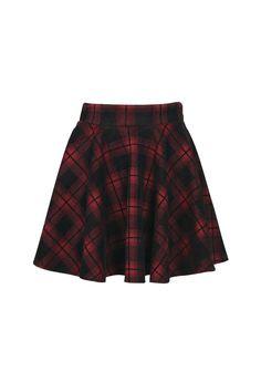 Ella Hoched Check Skater Skirt at boohoo.com