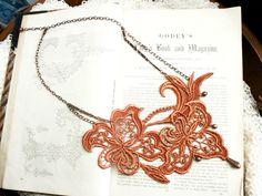 lace necklace ALEXA burnt orange by tinaevarenee on Etsy, $42.00