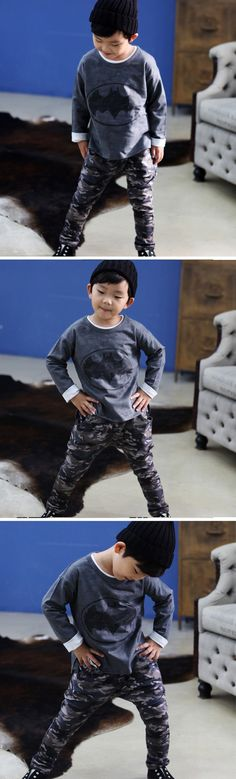 Batman Camo Sweatshirt and Pants Set for boys 1-8. Cool kids fashion, play ready style at Color Me WHIMSY.