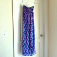 AE Strapless maxi dress Strapless maxi dress. Blue and turquoise floral pattern. Size small. American Eagle Outfitters Dresses Maxi