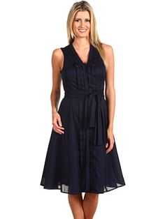 Pleated cotton dress in navy from Jones New York