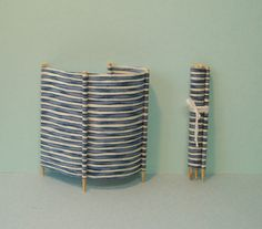 Windbreak in Blue and White Wide Stripe for Beach or Camping - 1/12 Scale Dollhouse Miniature