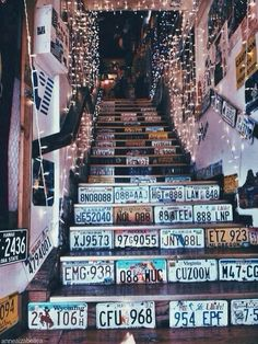 Attic chill room: steps with registration plates and fairy lights