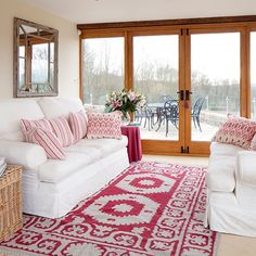 White living room with pink accents | Living room decorating | 25 Beautiful Homes | Housetohome.co.uk