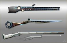 ArtStation - The hunting rifles of legendary hunters, Timur Mutsaev Sci Fi Weapons, Weapon Concept Art, Fantasy Weapons, Weapons Guns, Sci Fi Waffen, Inspiration Drawing, Future Weapons, Hunting Rifles, Sci Fi Characters