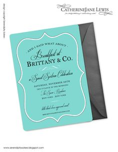 Breakfast at Tiffany's Invitation by by Catherinejanelewis on Etsy