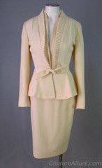 Vintage 50s LILLI ANN Cream Wool Boucle Wiggle Suit Small bust 36 at Couture Allure Vintage Clothing
