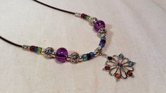 Daisy with Chakra Colors on Leather Cord, Czech glass beads handmade jewelry, gifts daisy necklace flower colorful reiki