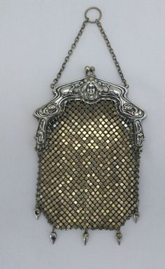 VINTAGE VICTORIAN CHAIN MESH EVENING BAG GERMAN SILVER ORNATE FRAME ANTIQUE  #EveningBag