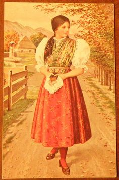 Czech Pretty Lady & Traditional Costume Vintage c1910 Postcard