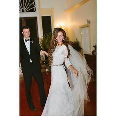 modest wedding dress with long lace sleeves from alta moda.              ---------       modest bridal gown       ---  photo: joseph and maria
