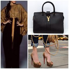 Dubaifashionista's metallic draped abaya, gold shoes and black accents