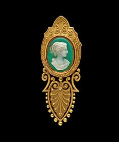 Elaborate Cameo set on a Green Hardstone, A 14K Victorian set green hardstone cameo, with elaborate hand beading.   Measures 2.3 inches x .84 inches.