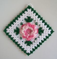 Crochet Potholder in Thread with Rose Flower in Shaded Pink --- New in Vintage Style   Flickr - Photo Sharing!